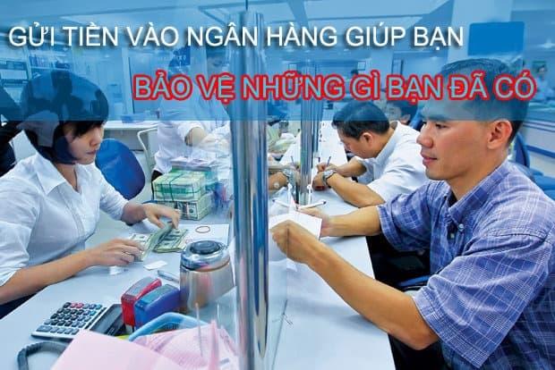 tiết kiệm tiền bằng cách gửi tiền vào ngân hàng