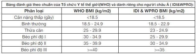 Bảng đánh giá chỉ số BMI